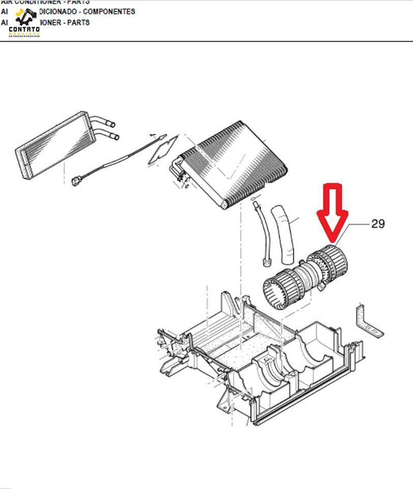 Eletro ventilador do ar condicionado E215B New Holland p/n YN20M00107S